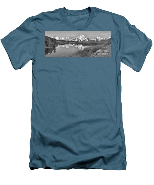 Panoramic Reflections At Oxbow Black And White Men's T-Shirt (Slim Fit) by Adam Jewell