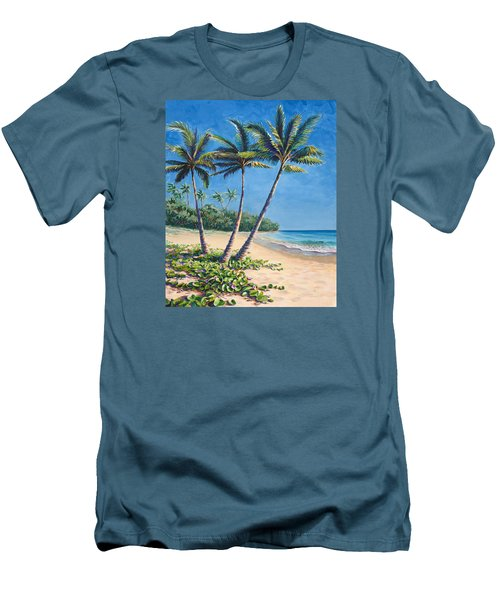 Men's T-Shirt (Slim Fit) featuring the painting Tropical Paradise Landscape - Hawaii Beach And Palms Painting by Karen Whitworth