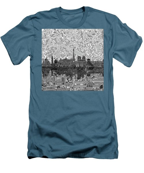 Men's T-Shirt (Slim Fit) featuring the painting Paris Skyline Black And White by Bekim Art