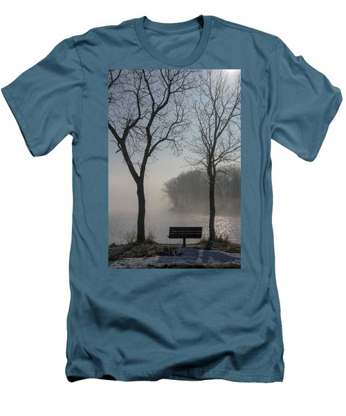 Park Bench In Morning Fog Men's T-Shirt (Athletic Fit)
