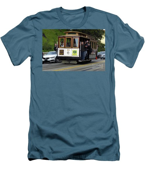 Passenger Waves From A Cable Car Men's T-Shirt (Slim Fit) by Steven Spak