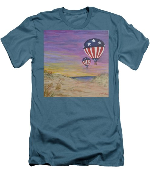 Men's T-Shirt (Slim Fit) featuring the painting Patriotic Balloons by Debbie Baker