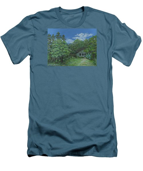 Men's T-Shirt (Slim Fit) featuring the painting Pawleys Island Blue by Kathleen McDermott