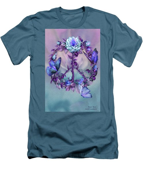 Men's T-Shirt (Athletic Fit) featuring the mixed media Peace Rose - Blue by Carol Cavalaris