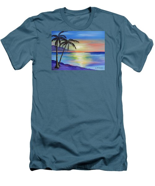 Peaceful Sunset Men's T-Shirt (Slim Fit) by Luis F Rodriguez