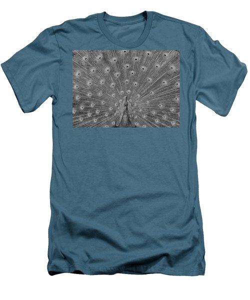 Men's T-Shirt (Slim Fit) featuring the photograph Peacock Fanfare - Black And White by Diane Alexander
