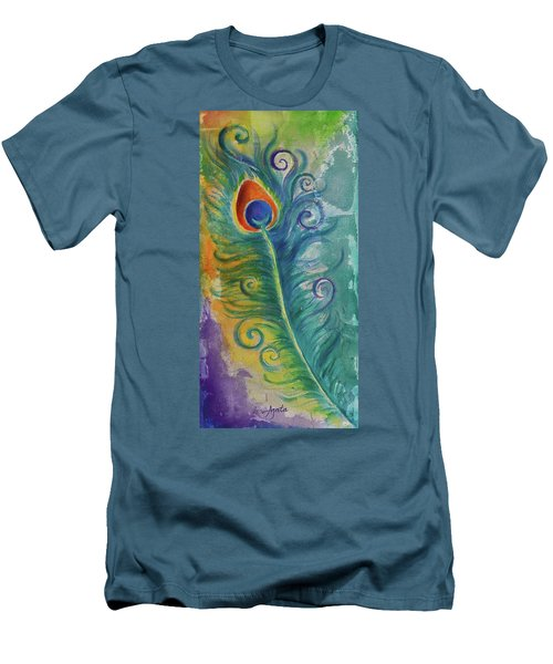 Men's T-Shirt (Slim Fit) featuring the painting Peacock Feather Mural by Agata Lindquist