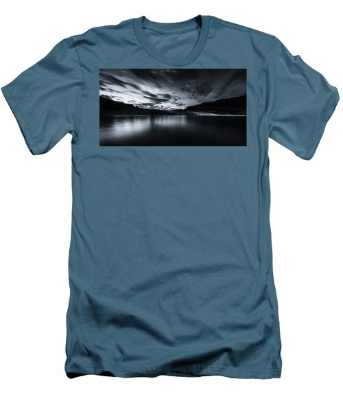 Peddernales Falls Long Exposure Black And White #1 Men's T-Shirt (Athletic Fit)