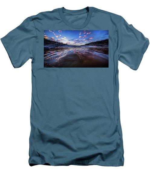 Peddernales Falls Sunset #1 Men's T-Shirt (Slim Fit) by Micah Goff