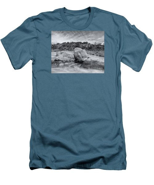 Pedernales River Falls In Black And White - Texas Hill Country Men's T-Shirt (Athletic Fit)