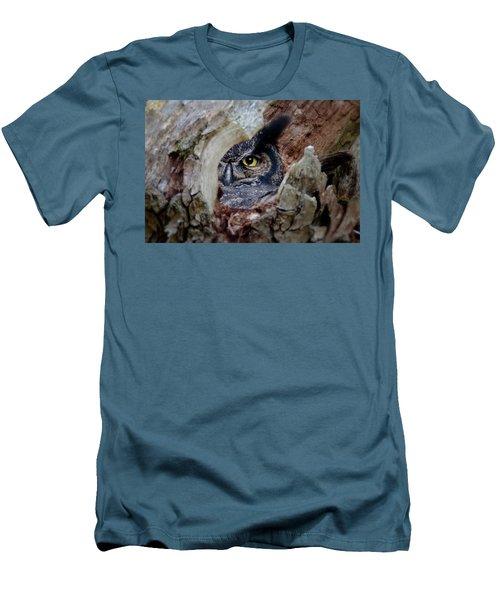Peek A Boo Owl Men's T-Shirt (Athletic Fit)