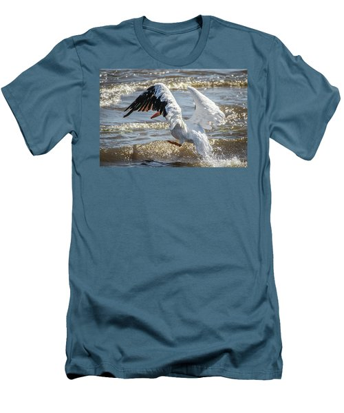 Pelican Jump Men's T-Shirt (Slim Fit) by Ray Congrove