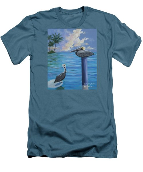 Pelican Pals Men's T-Shirt (Slim Fit) by Anne Marie Brown