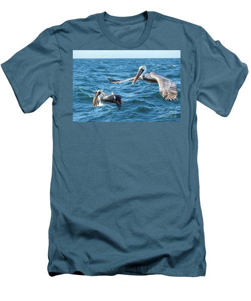 Pelicans Flying Men's T-Shirt (Slim Fit) by Robert Bales