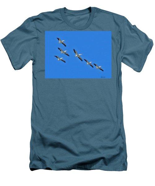Pelicans In Blue Men's T-Shirt (Athletic Fit)