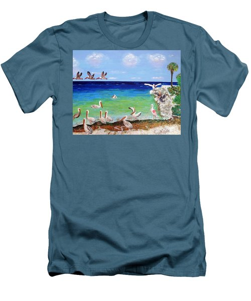 Men's T-Shirt (Slim Fit) featuring the painting Pelicans by Vicky Tarcau