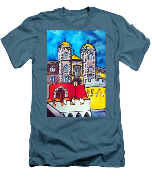 Men's T-Shirt (Slim Fit) featuring the painting Pena Palace In Sintra Portugal  by Dora Hathazi Mendes