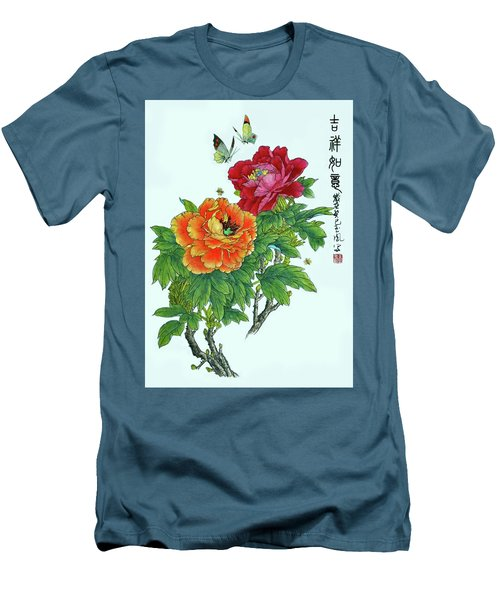 Peonies And Butterflies Men's T-Shirt (Slim Fit) by Yufeng Wang
