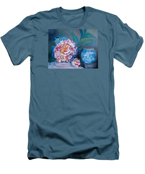 Men's T-Shirt (Slim Fit) featuring the painting Peony And Chinese Vase by Jenny Lee