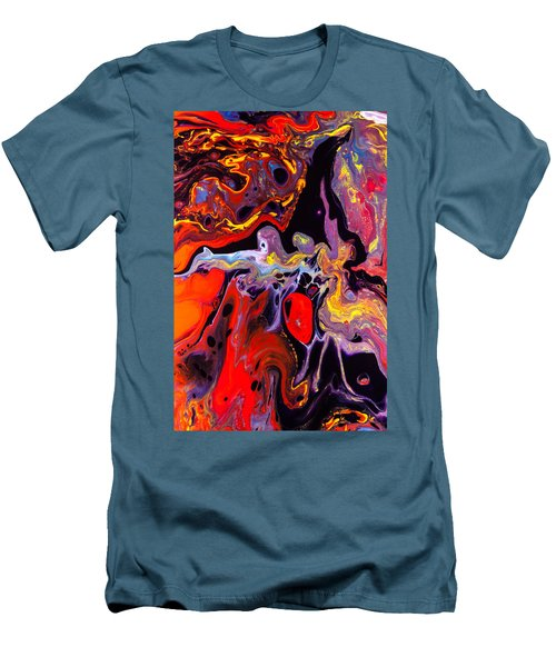People - Abstract Colorful Mixed Media Painting Men's T-Shirt (Slim Fit) by Modern Art Prints