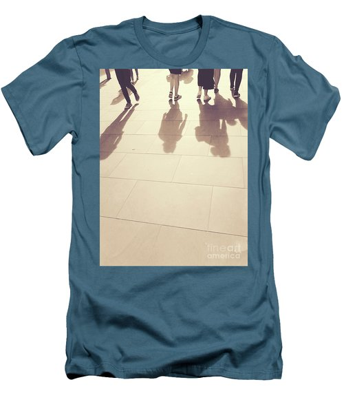 Men's T-Shirt (Athletic Fit) featuring the photograph People Walk The Golden Path by Rebecca Harman