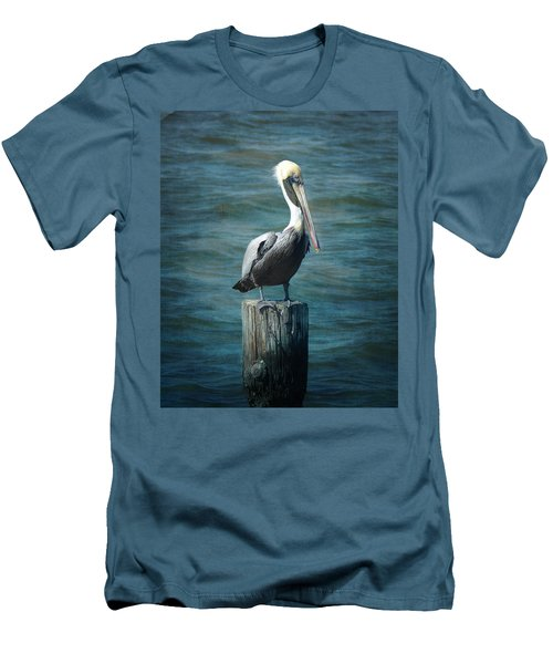 Perched Pelican Men's T-Shirt (Slim Fit) by Carla Parris