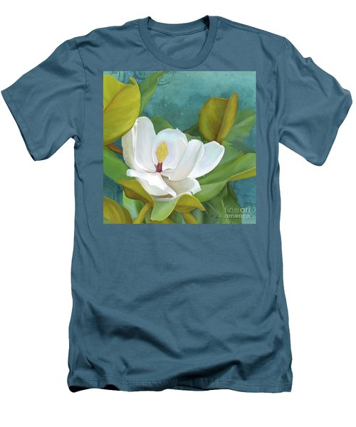 Men's T-Shirt (Athletic Fit) featuring the painting Perfection - Magnolia Blossom Floral by Audrey Jeanne Roberts