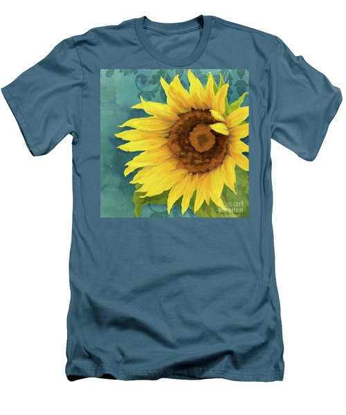 Men's T-Shirt (Athletic Fit) featuring the painting Perfection - Russian Mammoth Sunflower by Audrey Jeanne Roberts
