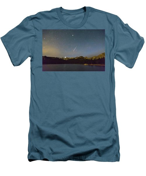 Men's T-Shirt (Athletic Fit) featuring the photograph Perseid Meteor Shower Indian Peaks by James BO Insogna