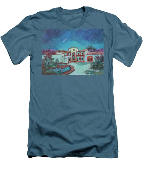 Men's T-Shirt (Slim Fit) featuring the painting Perseids Meteor Shower From La Quinta Museum by Diane McClary
