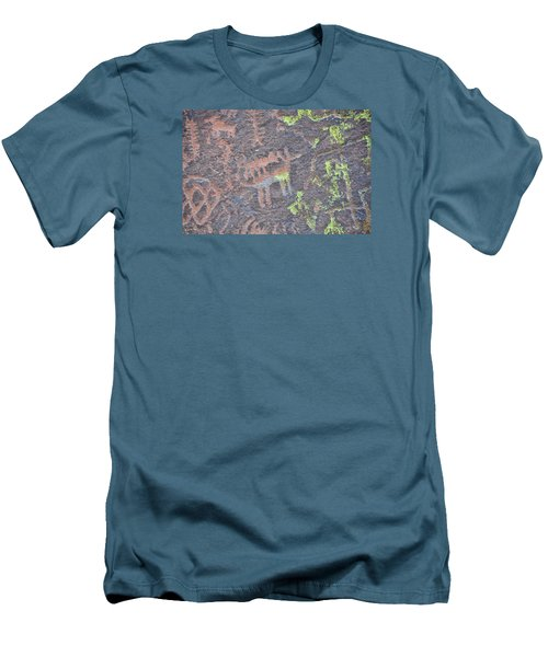 Petroglyph Wolf Attack Men's T-Shirt (Athletic Fit)