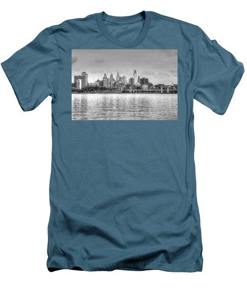 Philadelphia Skyline In Black And White Men's T-Shirt (Slim Fit) by Jennifer Ancker