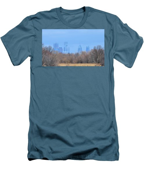 Philly From Afar Men's T-Shirt (Slim Fit) by Kathy Eickenberg