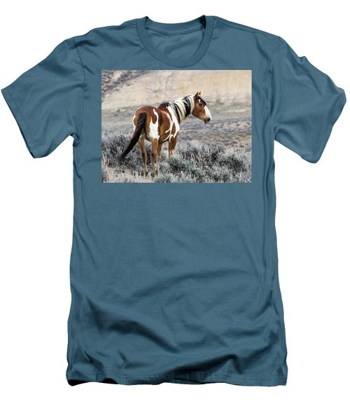 Picasso - Wild Mustang Stallion Of Sand Wash Basin Men's T-Shirt (Slim Fit) by Nadja Rider