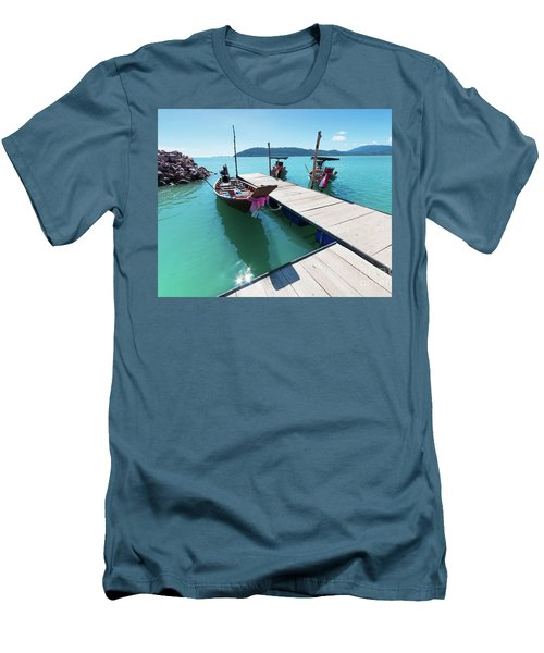 Men's T-Shirt (Slim Fit) featuring the photograph Pier At Khanom by Atiketta Sangasaeng