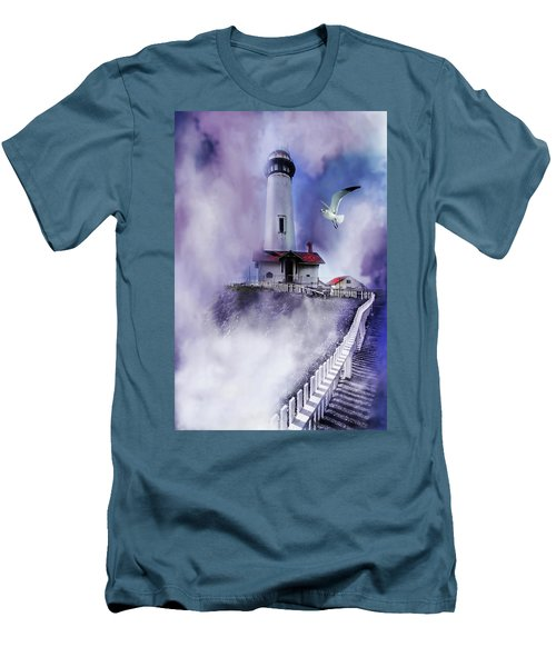 Pigeon Lighthouse With Fog Men's T-Shirt (Athletic Fit)