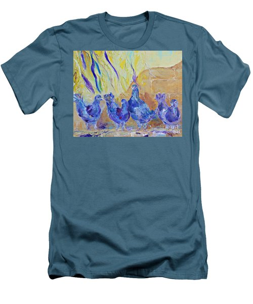 Men's T-Shirt (Slim Fit) featuring the painting Pigeons by AmaS Art