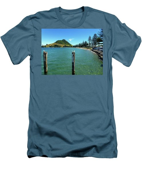 Pilot Bay Beach 1 - Mt Maunganui Tauranga New Zealand Men's T-Shirt (Slim Fit) by Selena Boron