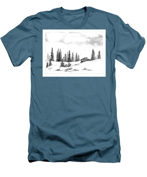 Men's T-Shirt (Slim Fit) featuring the drawing Pinetree Cabin by Terri Mills