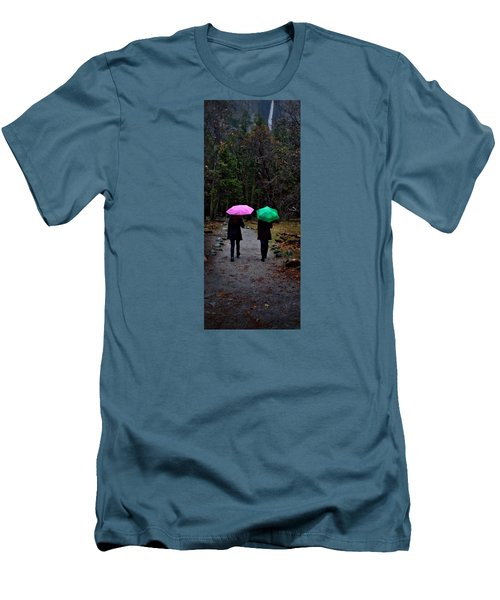 Pink And Green Men's T-Shirt (Slim Fit) by Josephine Buschman