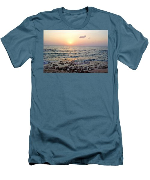 Pink And Purple Sunset Over Grand Cayman Men's T-Shirt (Slim Fit) by Amy McDaniel