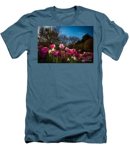 Pink And Purple Tulips Men's T-Shirt (Slim Fit) by John Roberts