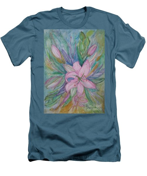 Pink Lily- Painting Men's T-Shirt (Slim Fit) by Veronica Rickard