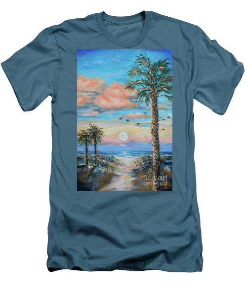 Pink Moon Rise Men's T-Shirt (Slim Fit) by Linda Olsen