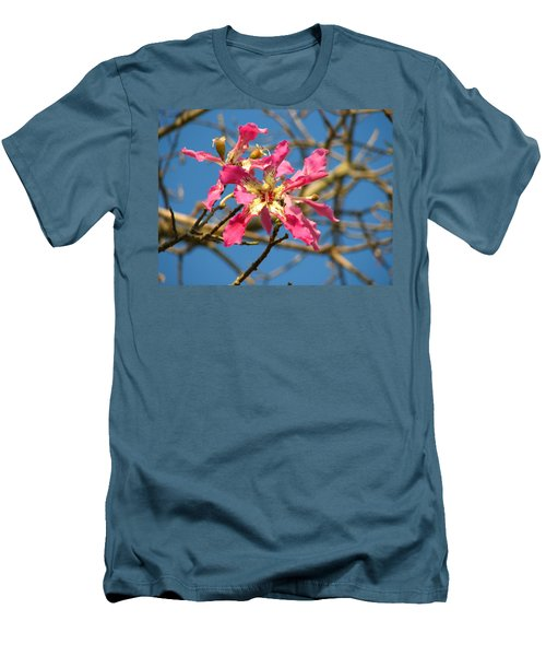 Pink Orchid Tree Men's T-Shirt (Slim Fit) by Carla Parris