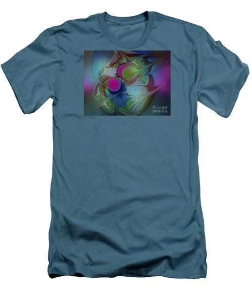 Men's T-Shirt (Slim Fit) featuring the digital art Pink Ping Pong Ball by Karin Kuhlmann