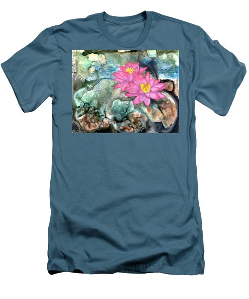 Men's T-Shirt (Slim Fit) featuring the painting Pink Waterlily by Sherry Shipley