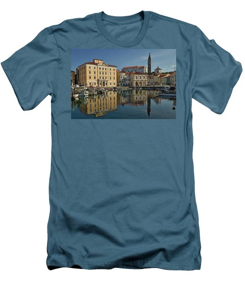 Men's T-Shirt (Athletic Fit) featuring the photograph Piran Marina Reflections #2 by Stuart Litoff