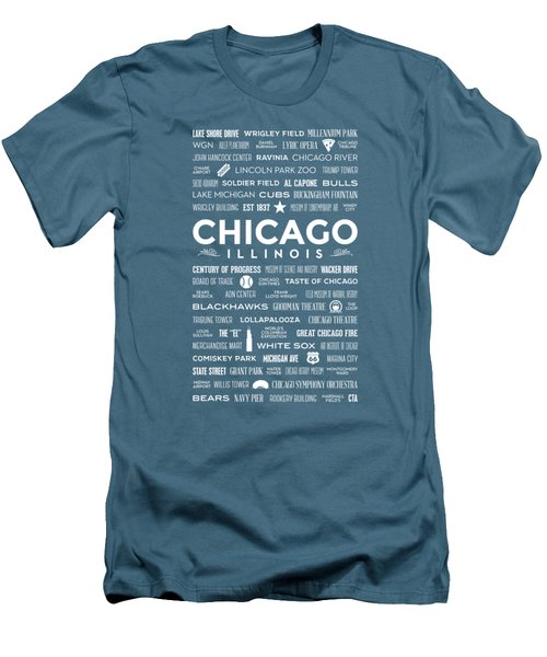Places Of Chicago On Blue Chalkboard Men's T-Shirt (Slim Fit) by Christopher Arndt