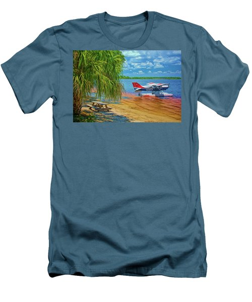 Men's T-Shirt (Athletic Fit) featuring the photograph Plane On The Lake by Lewis Mann